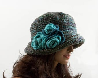 Crochet Cloche Hat with 3 Crochet Flowers - Taupe and Turquoise, Size XL