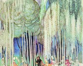 Fine Art Illustration by KAY Nielsen for the book Powder and Crinoline in 1913