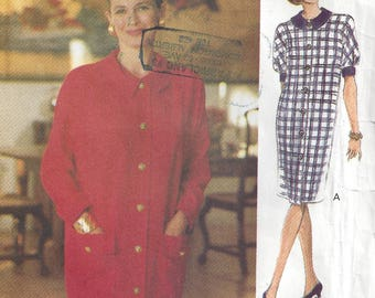 90s Easy Front Button Dress Loose Fitting Shoulder Pads Dolman Short/Long Sleeves Pockets The Vogue Woman 8591 Size 14-16-18 Bust 36-38-40