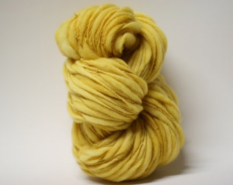 Handspun Wool Merino Yarn Thick and Thin Slub  Hand Dyed tts(tm) Bulky Yellow Buttercup 02