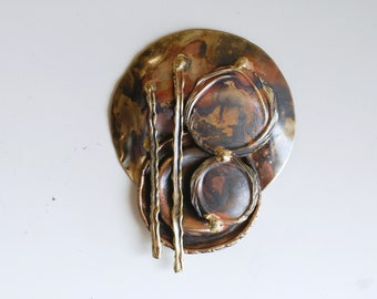 1980s brass brutalist abstract handmade brooch / 80s vintage large artisan pin oxidized brass / vintage statement jewelry