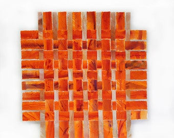 Orange Paper Weaving- 14x14- Original Acrylic Mixed Media- Woven Art- Square