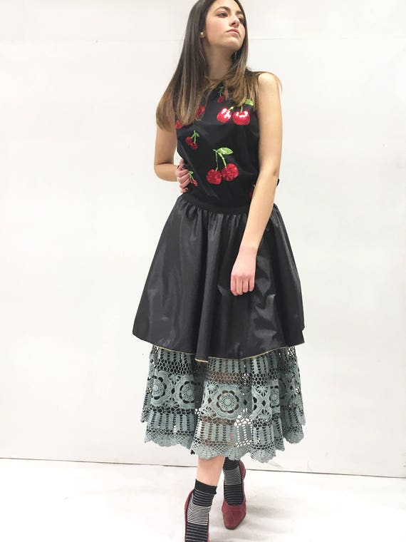 Reversible Circle Hand Made Crochet Skirt LOLA DARLING Hand Painted Leather Effect Canvas Black Satin Recovered Fabrics Unique Made in Italy