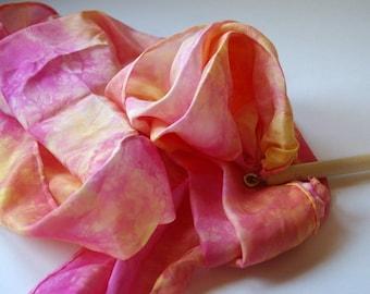 Play Silk Wand : Twirligig 'Soft Sunrise' (Playsilk Streamer Wand) Waldorf Inspired Outdoor Toy