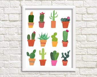 Cactus print, digital print with cactusses, cacti, succulent, botanical print, art print, wall decoration, INSTANT DOWNLOAD (0019)