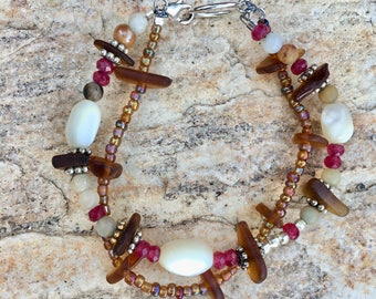 Sea Glass Double Strand Bracelet