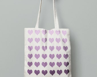 Purple hearts tote bag, heart bag, canvas tote bag