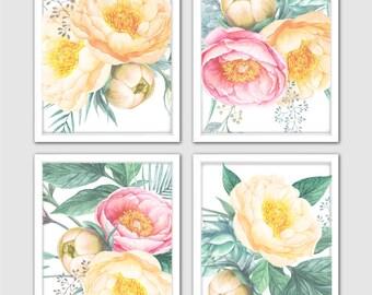 Watercolor Peony Set of 4 Art Prints – Beautiful Peonies Flower Prints for Nursery Flower Decor