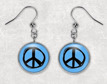 Peace Earrings/ Peace Sign Earrings/ Peace Sign Jewelry/ Peace Sign Gift/ Gift For Hippie/ Gift For Her/Peace Jewelry/ Gift for Teen