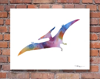 Pterodactyl Art Print - Abstract Dinosaur Watercolor Painting - Wall Decor