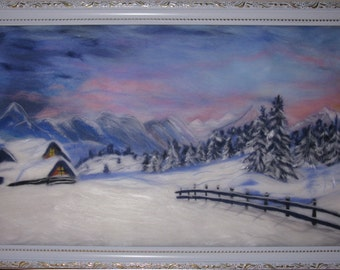 """wool painting, gifts idea, Home decor, Holiday gifts, Wool Picture  """"Winter"""" , wall hanging, Décor Wall Art, painting Fiber art, landscape"""