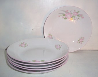 6 EPIAG II Pink Flower Pattern Large 8 3/4in Soup Bowls made in Czech #10