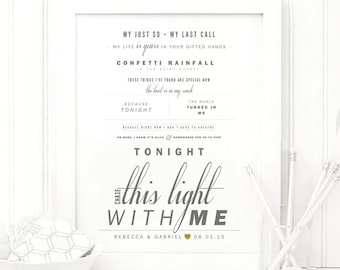 "Jimmy Eat World ""Chase This Light"" - Grey & Red - Valentine's, Wedding Gift, Paper Anniversary Gift, Song Lyrics, Art Print"