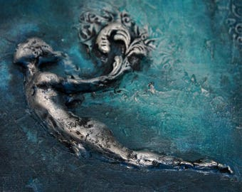 The Diver. COMMISSION Inspirational Wall Sculpture by Fae Factory Artist Dr Franky Dolan (3D clay relief canvas painting art) {SEE VIDEO}