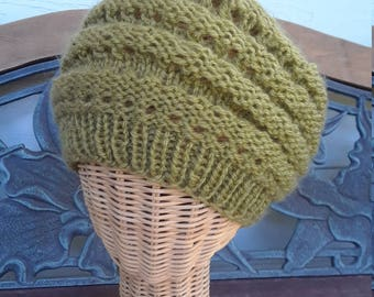 Lovely Knitted Springtime Green Breezy Beanie Cap Hat
