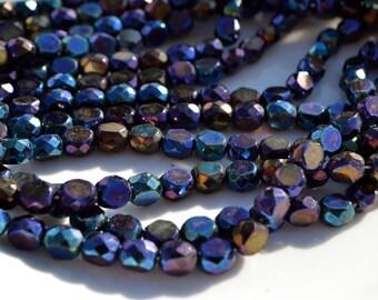 Dark Blue Iris 10mm Czech Glass Faceted Fire Polish Coin Beads  25