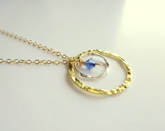 Two Circle Necklace Birthstone Necklace Dainty Gold Necklace, Gold Circle Necklace Gold Jewelry, Double Circle Necklace, Birthstone Necklace