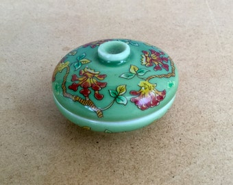 Japanese Green Pill Trinket Box Continental Porcelain by Del Prado