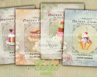 CARDS Cakes - Digital Collage Sheet - Digital Download Prints, cards, Digital Download Sheet, Digital tags, Digital printable - Scrapbooking