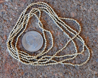 Indian Silver Metal Beads: 2 Strands 2mm