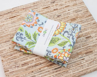 Large Cloth Napkins - Set of 4 - (N3498) - Suzette Blue Flower Modern Reusable Fabric Napkins