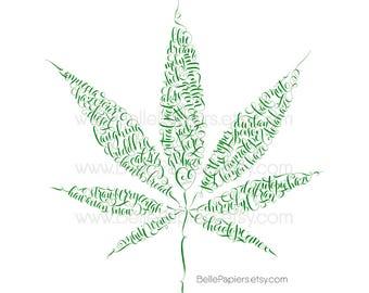 Art mural de sativa Medical Marijuana | Cannabis | Art mural marijuana | Décoration de feuille du sativa | Décor feuille indica | Cadeaux à base de plantes