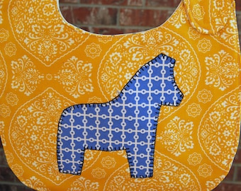 Swedish Dala horse Baby bib - Cheddar yellow with French blue horse