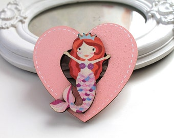 Little mermaid  wooden brooch kawaii sweet lolita egl pink heart