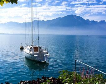 Sailboat in Montreux Switzerland