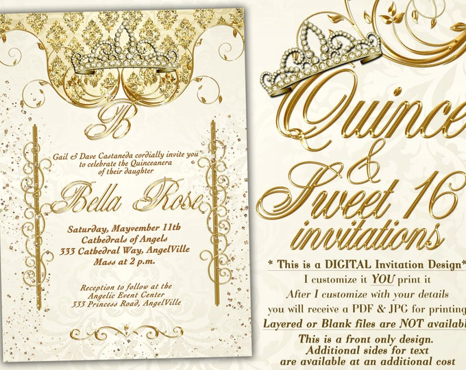 Birthday Party Invitations, Quinceanera Invitation, Party Invitations, Sweet 16 Party