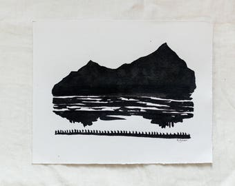 Mountains & Water Reflection Original Abstract Landscape Ink Painting By Britt Fabello