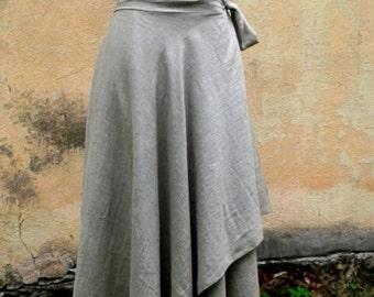 Natural Linen Asymmetrical Boho Linen Skirt