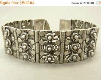 Etruscan Revival  Bracelet Cannetille Sterling Silver Link Bracelet