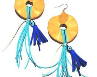 Ecochic earrings with natural ornaments - blue