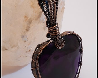 Purple Onyx Agate Heart Shaped Pendant, Wire Wrapped Copper