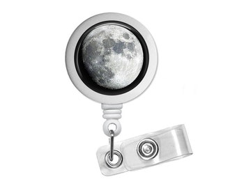 Galaxy Space Moon Photo Glass /Bottle Cap Retractable ID Badge Reel