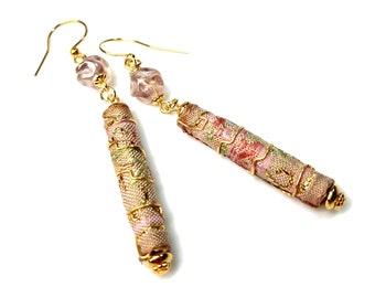 Dusty Pink Earrings, Light Pink Dangle Earrings, Long Pink Earrings, Dusty Rose, Fabric Jewelry, Fiber Art