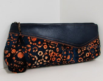 CHAMPAGNE clutch in Orange Batik