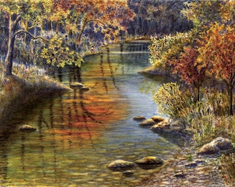 Autumn landscape art watercolor painting print, fall creek, by Cathy Hillegas, 11x14, watercolor print, Autumn, orange, yellow, green blue