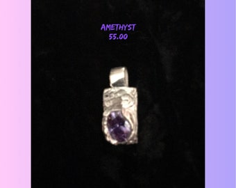 Precious Metal Clay Pendant with Amethyst Cubic Zirconia