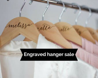 Bridesmaid gift - Wooden ENGRAVED Hanger - Bridal Dress Hanger Calligraphy  - Bridesmaid hangers