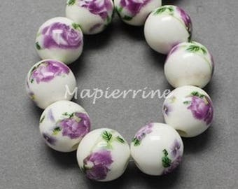 10 ceramic beads, round porcelain purple flower 1 cm