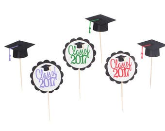 Graduation Cupcake Toppers - Graduation Cap Cupcake Toppers - Custom Graduation Party - Class of 2017 Cupcake Toppers - School Colors