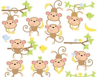 monkey clip art clip art banana birds animals - Boy Monkeys Clip Art - BUY 2 GET 2 FREE