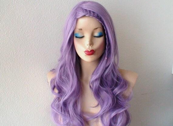pastel wig lavender wig pastel light purple long curly. Black Bedroom Furniture Sets. Home Design Ideas