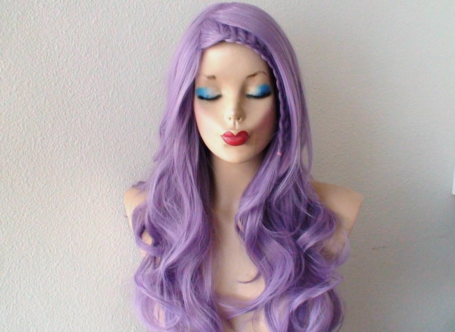 Lavender Wig. Pastel Light Purple Long Curly
