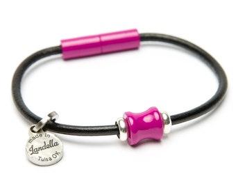 Leather Magnetic Landella Single Magenta Pink Spine Bead Bracelet