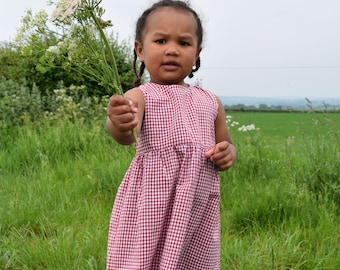 Organic Cotton Red Gingham Dress