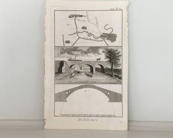 1751 COLUMN architecture print - original antique french building engraving - column details DIDEROT architectural details print brigdes