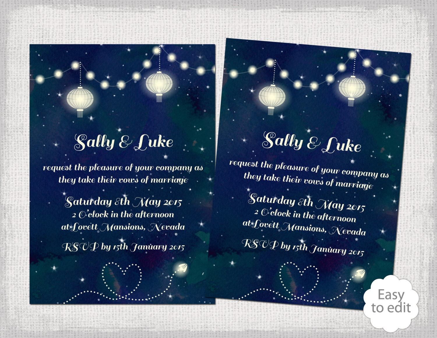 Printable Wedding invitation template Starry Night